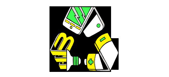 Image : une lampe au mercure, un téléphone cellulaire et une batterie sont tordus pour ressembler au symbole du recyclage (trois flèches tordus pointant une vers une autre comme un cycle).